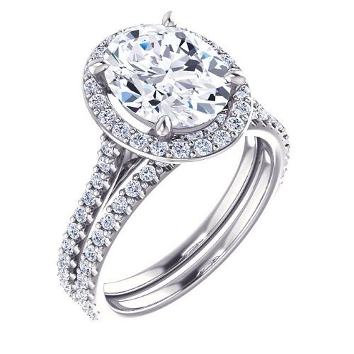 1.98 Ct. Oval Cut Halo Diamond Engagement Ring & Matching Band D, VVS1 GIA Cert 1
