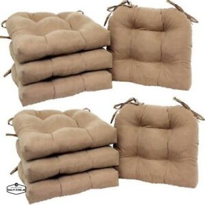 Chair Cushion Set Of 8 Pads Dining Seat Pillow Outdoor Patio Indoor Kitchen Ties