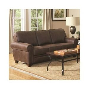 new rustic brown leather sofa couch family living furniture basement