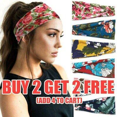 Floral Print Headband SPA Wide Elastic Hair Bands Sweatband Sport Yoga Headwrap