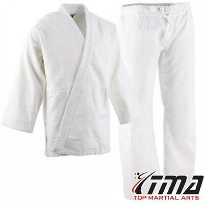 Heavyweight White Uniform (TMA 14 oz Extra Heavyweight Brushed Cotton Drawstring Uniform Karate Gi )
