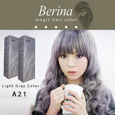 2 BOXES Best Permanent Hair Color Cream Hair Style Dye Light Grey Silver A21