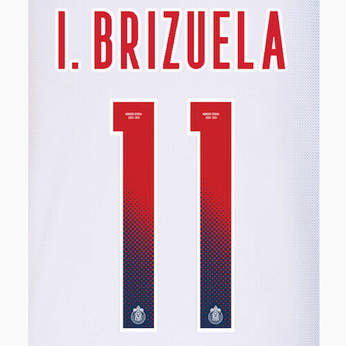 Chivas 2020/21 Away I.BRIZUELA #11 Jersey Name Set