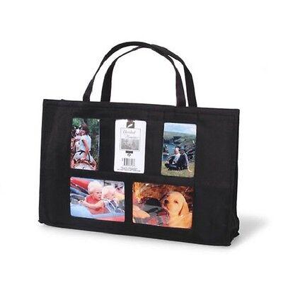 5 Pocket Photo Tote Bag NIP - Black Brag Bag w/ Space for Five Pictures Photo Brag Bag