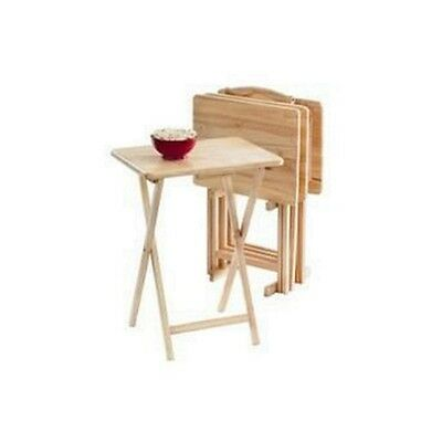 TV Tray Set 5 Pc Wood Dinner Snack Table Portable Folding Stand Serving Tables ()