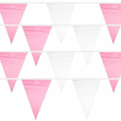 100' Pennant Banner, 48 Pink & White Racing Weatherproof Flags Party Supplies (White Pennant)