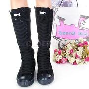 Knee High Canvas Boots