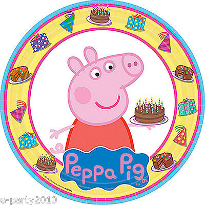 PEPPA PIG LARGE PAPER PLATES (8) ~ Birthday Party Supplies Cake Dinner Luncheon (Peppa Pig Birthday Plates)
