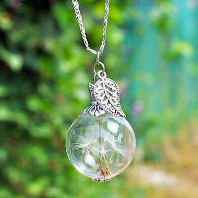 Make A Wish Necklace - Dandelion Seed Make A Wish Glass Bauble Chain Lucky Gift Long Sweater Necklace