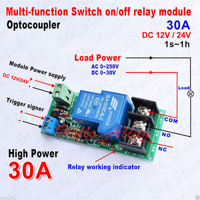 Dc12v 24v 30a High Power Multifunction Time Delay Turn Onoff Timer Relay Module