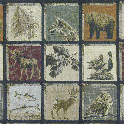 Blue Hills Spice Moose Upholstery Fabric Mountain Lodge Rustic Tapestry