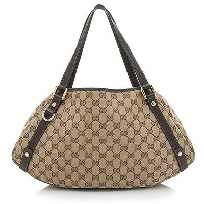 100% Authentic Gucci Abbey Canvas Brown Leather Tote Bag