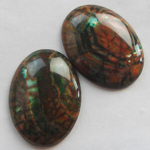 J0019080 2pcs Excellent oval fire Agate CAB CABOCHON