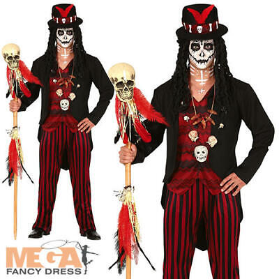 Voodoo Man Mens Fancy Dress Witch Doctor Skeleton Adult Halloween Costume - Witch Doctor Fancy Dress Kostüm