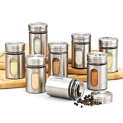 Kitchen Canister Jars Set Storage Containers Spice Bottle 8 Pcs Silver Stainless