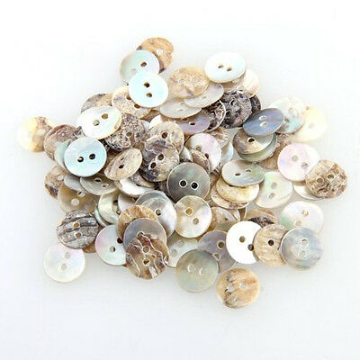 100 Mother of Pearl MOP Round Shell Sewing Buttons 8mm HOT AD (Craft Buttons)