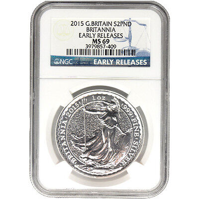 2015 British Silver Britannia Coin NGC MS69 ER