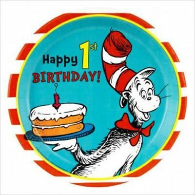 CAT IN THE HAT 1st Birthday LARGE PAPER PLATES (8) ~ First Party Supplies (Cat In The Hat 1st Birthday Party)