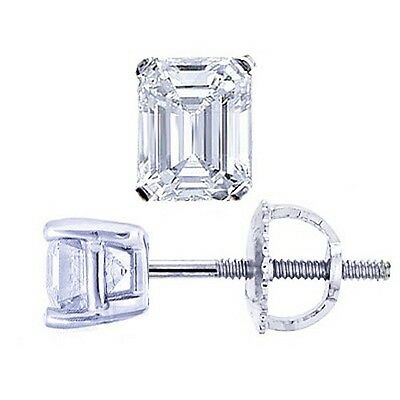 1.40 Ct Emerald Cut Diamond Stud Prong Set Earrings H,VVS2 GIA 14K WG or YG