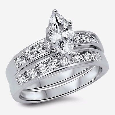 USA Seller Marquis Wedding Ring Set Sterling Silver 925 Best Price Jewelry