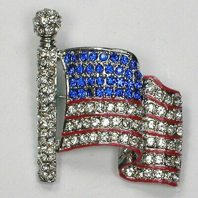 Crystal Rhinestone USA Flag America Fashion Jewelry Costume  Pin Brooch](Usa Flag Costume)