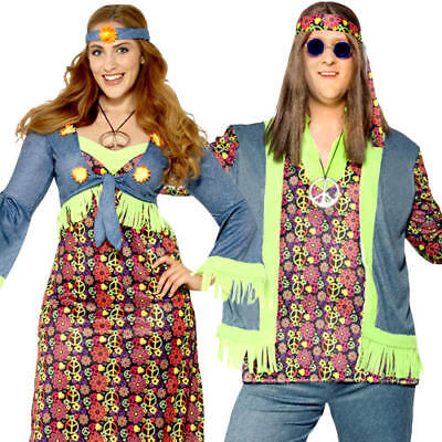 Hippie Plus Size Adults Fancy Dress Groovy Peace 1970s 60s Peace XL Costumes New - Plus Size Hippie Fancy Dress