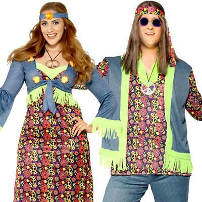 Hippie Plus Size Adults Fancy Dress Groovy Peace - Hippie Fancy Dress Plus Size