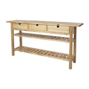 IKEA FÖRHÖJA 3 Drawer Island Table in Birch