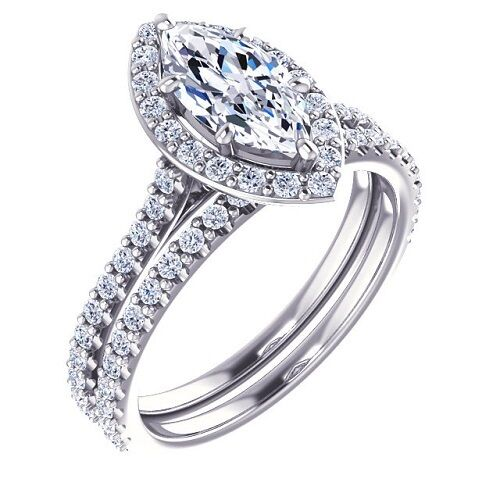 2.28 Ct. Marquise Cut Halo Pave Diamond Engagement Bridal Set GIA Natural 14k 1