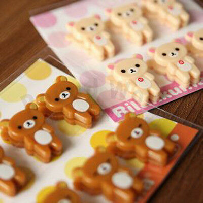 San-X Rilakkuma Relax Bear Mini Document Paper Clips Bookmark 6pcs