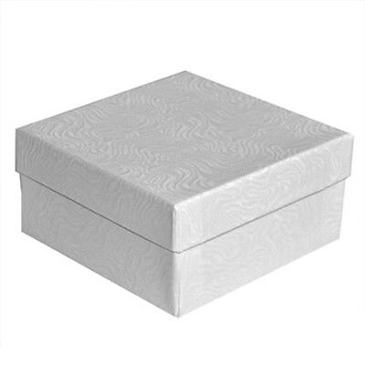 100 White Swirl Cotton Filled Jewelry Packaging Gift Boxes 3 12 X 3 12 X 2