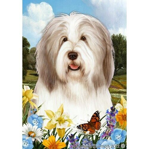 Summer House Flag - Fawn and White Bearded Collie 18483
