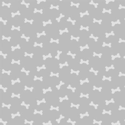 Pet Fabric - Daddy & Me White Bone Toss on Light Gray - Henry Glass YARD