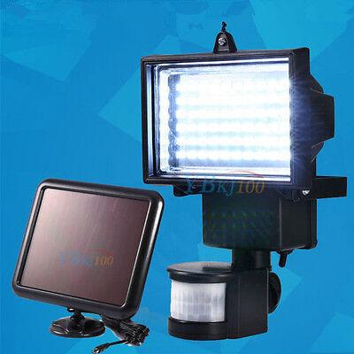60 LED Solarlampe PIR Fluter Strahler Bewegungsmelder Flutlicht Garage Leuchte