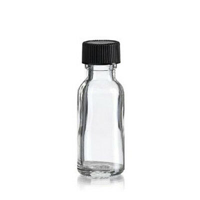 - 15ml Boston Round Clear Empty Bottle with Black Poly Cone Cap (Case of 576 Pcs)