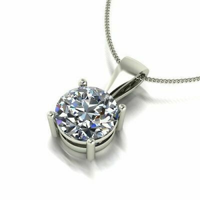 2.50 Ct Round Shape Forever One Moissanite Pendant Necklace 14k White Gold 14k Moissanite Necklace