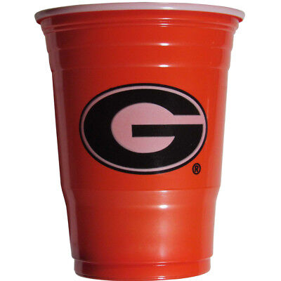 GEORGIA BULLDOGS PLASTIC GAMEDAY CUPS 18OZ 18CT SOLO TAILGATE PARTY SUPPLIES - Georgia Bulldog Party Supplies