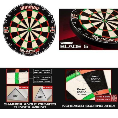 Winmau Blade 5 Bristle Dartboard with All-New Thinner Wiring for Higher Scoring