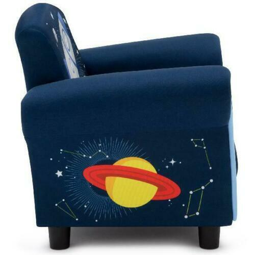 NEW Upholstered Chair Children Space Adventures Design Toddler Furniture Blue
