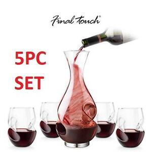 NEW 5PC FT CONUNDRUM DECANTER SET - 105868885 - FINAL TOUCH RED WINE SET GLASS AERATOR DECANTER CARAFE