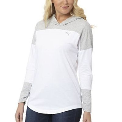 NWT Puma Ladies' Women's Hooded Pullover Hoodie White/Grey Size L Large