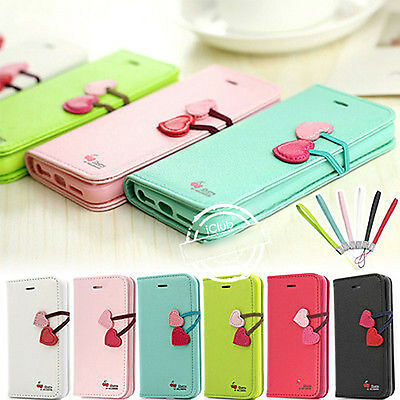 Cute Cherry Pu Leather Flip Wallet Stand Case Cover For IPhone 4 4S 5 5S +Film
