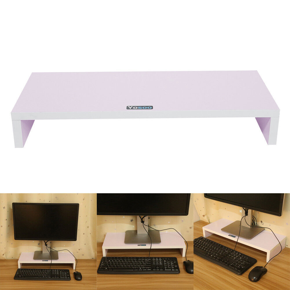 Wooden Monitor Stand Led Lcd Computer Riser Desktop Holder