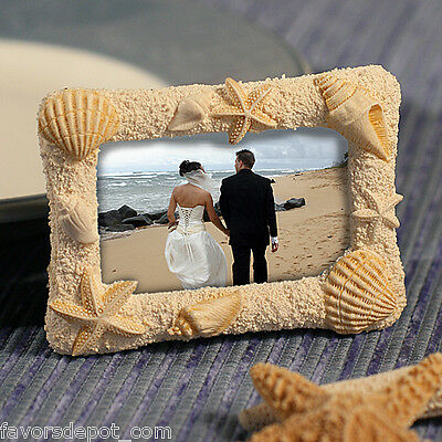 40 Beach Themed Photo Frame Wedding Favors Seashell Place card Holder](Beach Themed Wedding Favors)