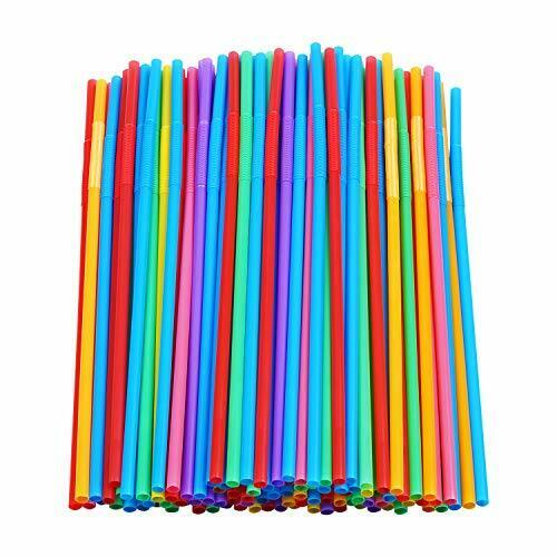 200pack Colorful Extra Long Flexible Drinking Straws Bendy Disposable Plastic US