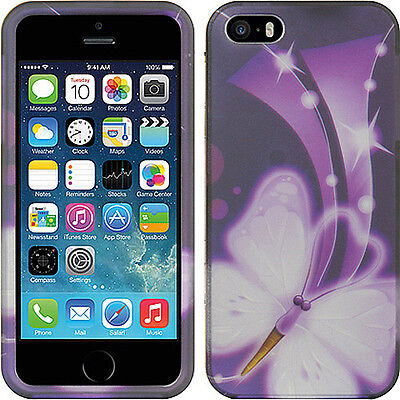 Apple iPhone 5 5S SE Rubberized HARD Protector Case Cover White Purple Butterfly Butterfly White Protector Cover