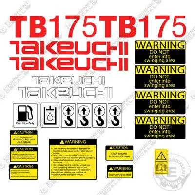 Takeuchi Tb 175 Mini Excavator Decals Equipment Decals Tb175 Tb-175 Tb175