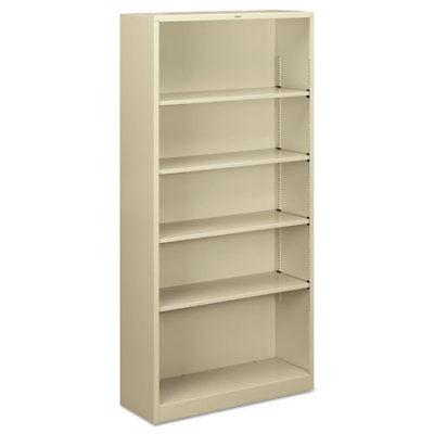 "5 Shelf Metal Bookcase, 34-1/2""x12-5/8""x71"", Putty HONS72ABCL"