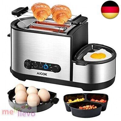 Aicok Automatik Toaster mit Grill, 3 in 1 Toaster und Eierko(Erste Partie Ware)