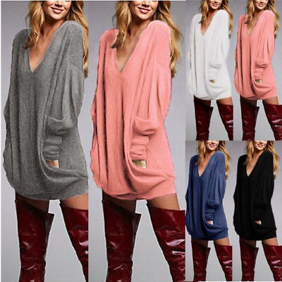 US Women's Winter Casual Long Sleeve Solid Loose Tunic Top Shirt Blouse Dress
